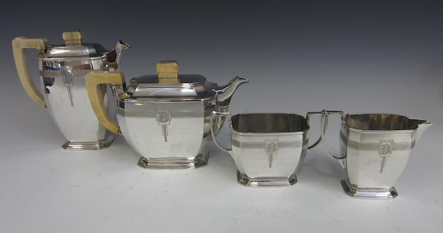 An Art Deco four piece silver and ivory handled tea and coffee service by Mappin and Webb, Sheffield 1937