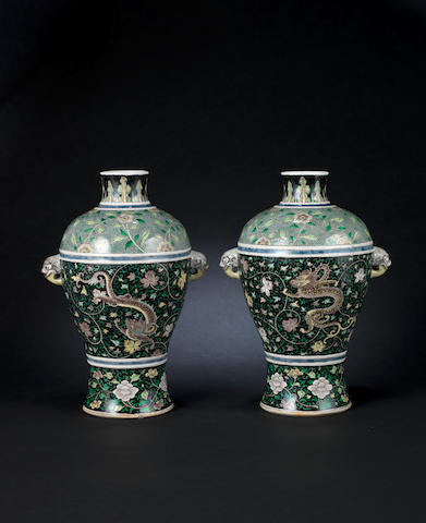 A pair of famille noire, meiping vases 19th century