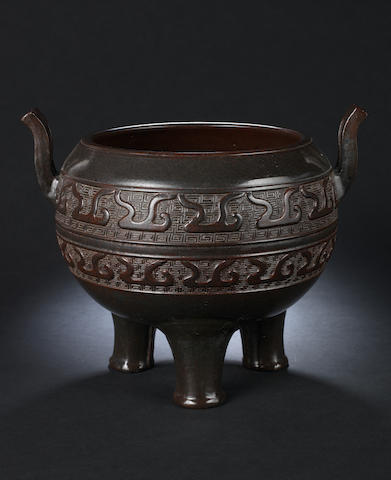A brown-glazed incense burner, ding Qianlong seal mark