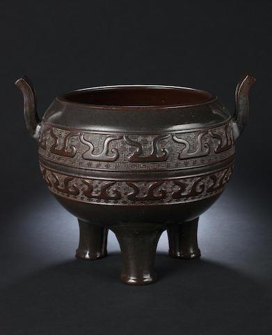 A brown-glazed incense burner, ding Qianlong seal mark