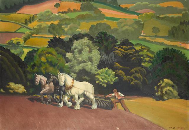 Anna Katrina Zinkeisen (British, 1901-1976) Ploughing the fields