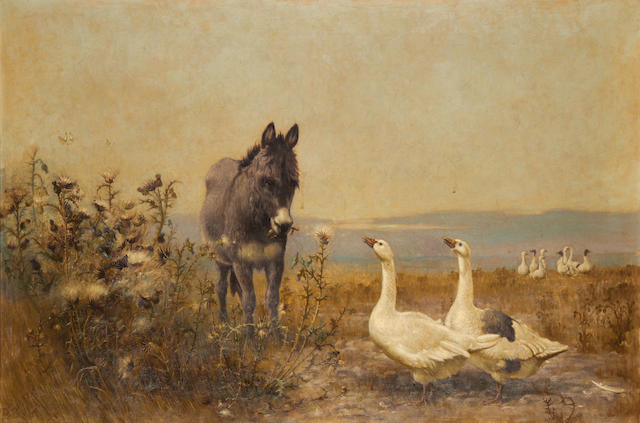 Robert B. Farren (British, born 1832) Donkey and geese