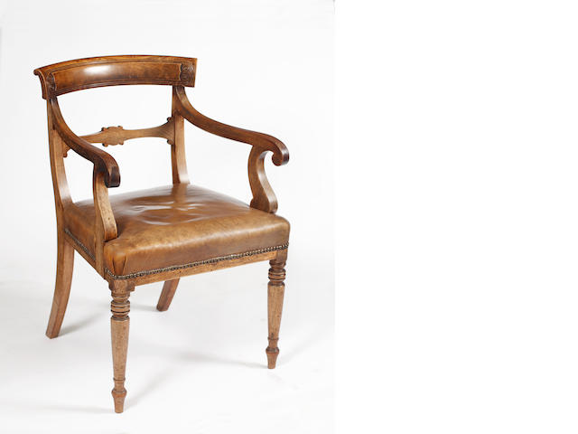 A William IV mahogany elbow chair