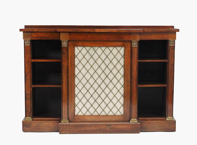 A Regency rosewood breakfront sidecabinet