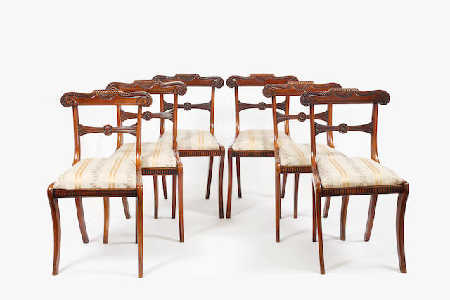 A set of six Regency mahogany chairs