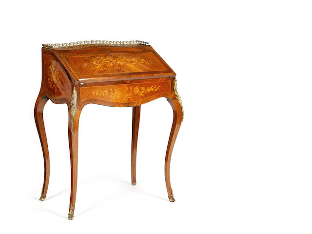 A French rosewood,bois satine and marquetry bureau de dame