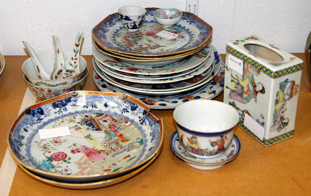 A collection of Chinese famille rose porcelain plates and dishes various dates,