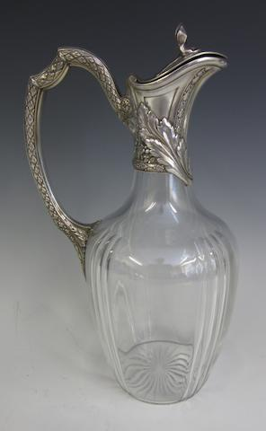 A French silver mounted and glass claret jug by Risler and Carre, Paris circa 1900, Minerva 950 standard