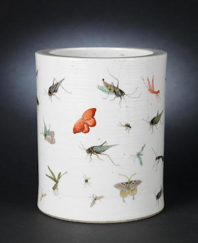 An enamelled cylindrical brushpot, bitong Jiaqing six-character mark