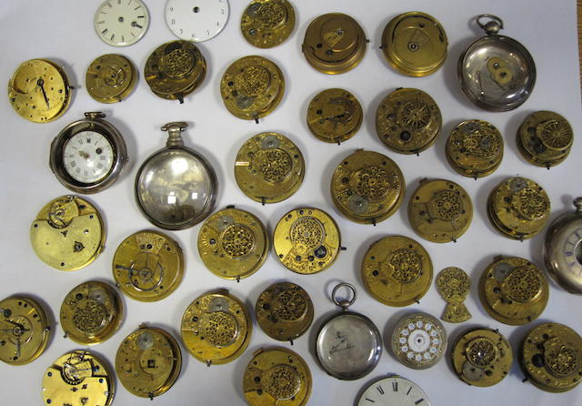 A lot of thirty-one various english lever and verge pocket watch movements including three silver cases