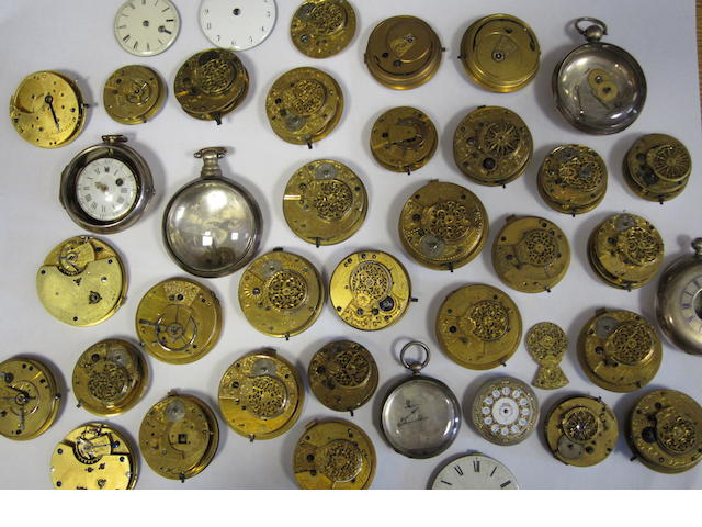 A collection of 31 various english lever & verge pocket watch movements including three silver cases
