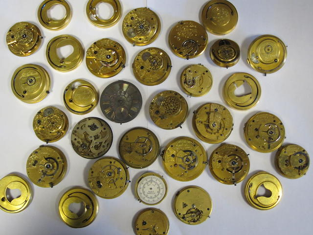 A lot of twenty-four various pocket watch movements
