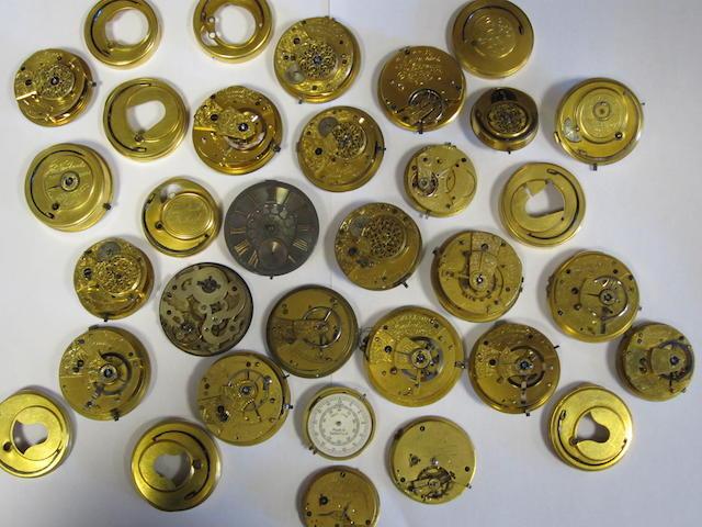 A lot of twenty-four various pocket watch movements