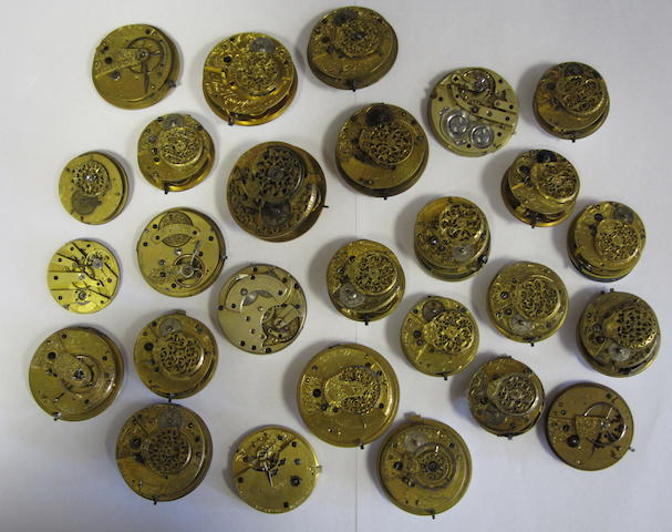 A lot of twenty-four various english lever and verge pocket watch movements
