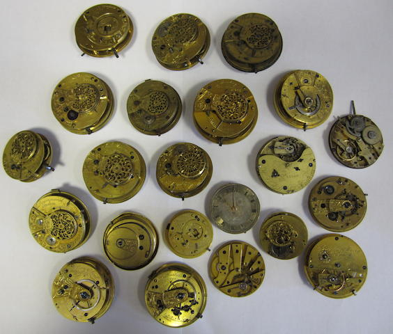A lot of twenty-two various pocket watch movements