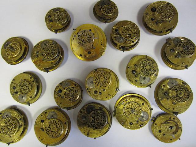 A lot of eighteen various pocket watch movements