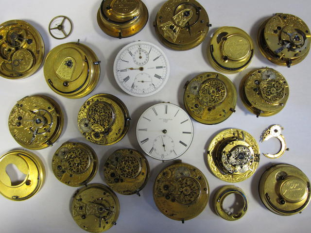A lot of seventeen various pocket watch movements
