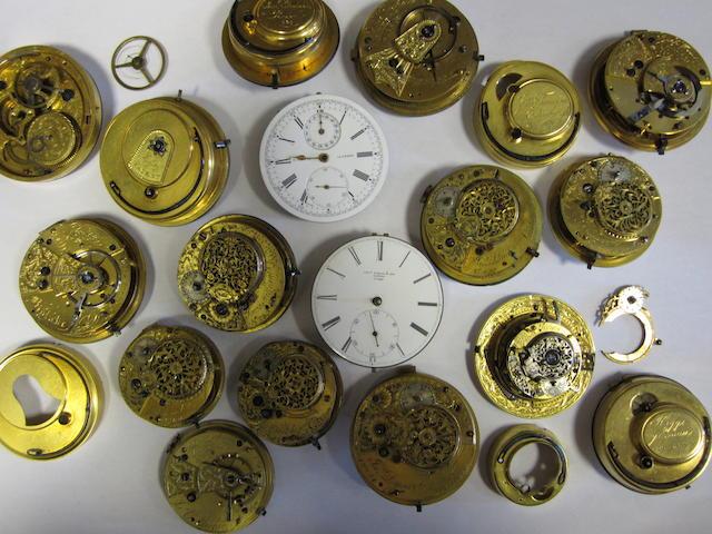 A lot of seventeen various pocket watch movements
