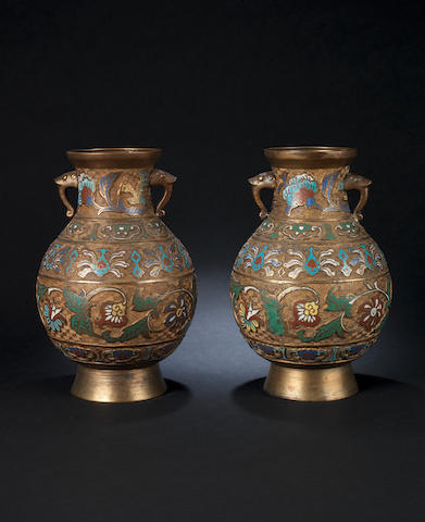 A pair of champlevé vases