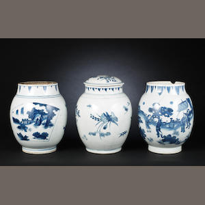 Three Blue and White Transitional Ovoid vases