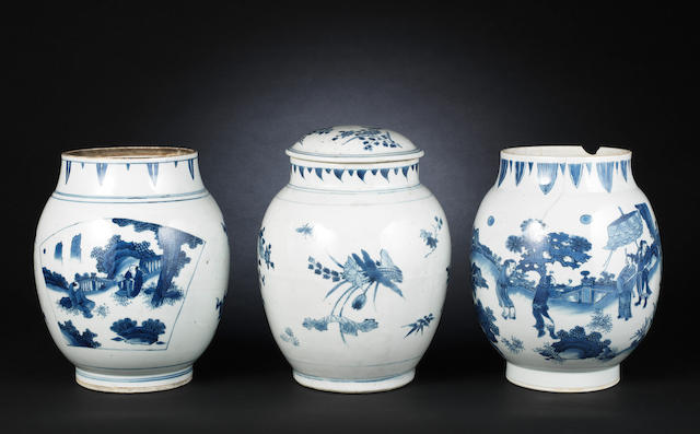 Three blue and white, oviform vases Probably Chongzhen