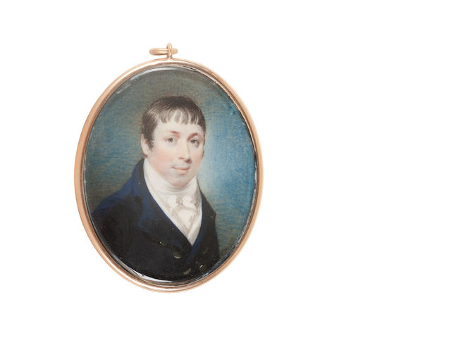 John Thomas Barber Beaumont, FSA, FGS (British, 1774-1841) A portrait miniature of Sir Walter Scott, 1st Baronet (1771–1832), wearing dark blue coat, white waistcoat, frilled chemise, stock and tied cravat