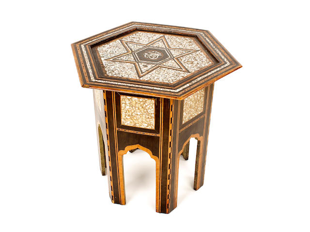 A late 19th century Middle Eastern hexagonal table