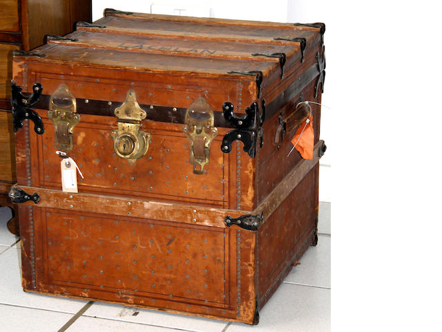 A hide covered trunk,
