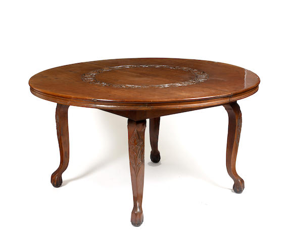 A Kashmere hardwood circular centre table,