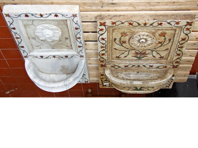 Two inlaid marble wall fountains,