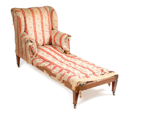 An Edwardian upholstered armchair/daybed
