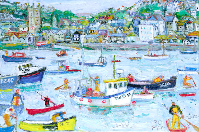 Linda Weir (British, born 1951) 'Cool summers blues- St Ives harbour'