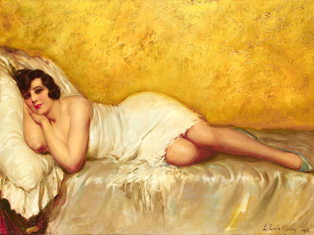 Louis Emile Adan (French, 1839-1937) Reclining lady