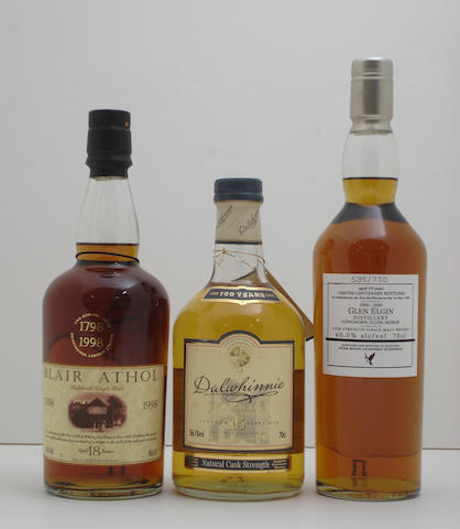 Blair Athol Bicentenary-18 year old<BR /> Dalwhinnie Centenary-15 year old<BR /> Glen Elgin Centenary-19 year old