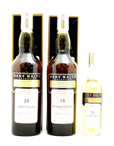 Port Ellen-20 year old-1978  Benromach-19 year old-1978  Glenlochy-25 year old-1969