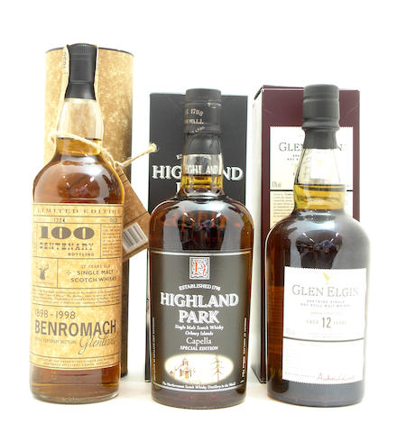 Benromach Centenary-17 year old<BR /> Highland Park Capella<BR /> Glen Elgin-12 year old