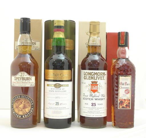 Speyburn-27 year old-1973  Scapa-25 year old-1975  Longmorn-Glenlivet-25 year old  Old Parr Seasons Winter