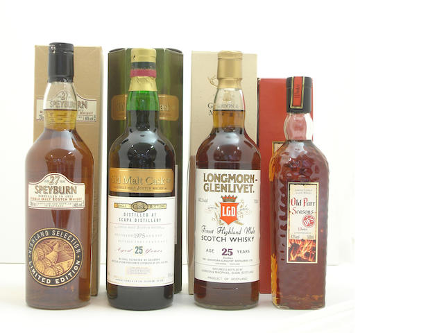 Speyburn-27 year old-1973<BR /> Scapa-25 year old-1975<BR /> Longmorn-Glenlivet-25 year old<BR /> Old Parr Seasons Winter