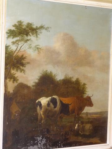 Circle of Abraham Begeyn, (19th century) Cattle and Sheep resting in a lowland landscape