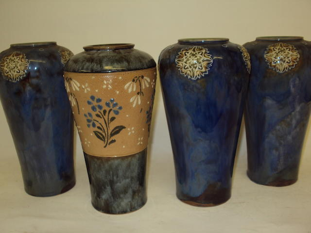 Three matching Royal Doulton Lily Partington vases