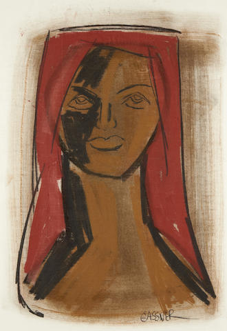Charles (Carel Antoon) Gassner (South African, 1915-1977) Portrait of a woman with a red headscarf
