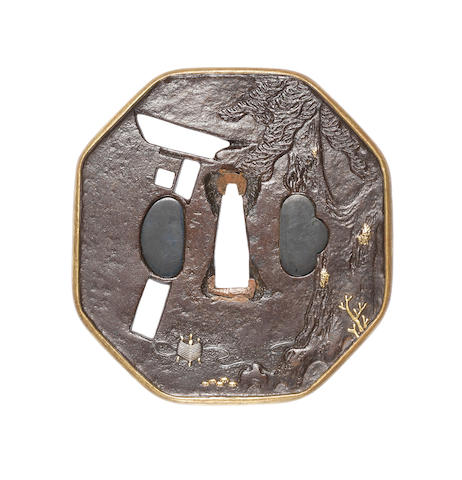 An Edo kinko iron tsuba By Katsurano Sekibun, 19th century