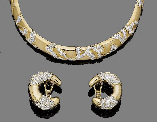 A diamond-set collar necklace and earclip suite (2)