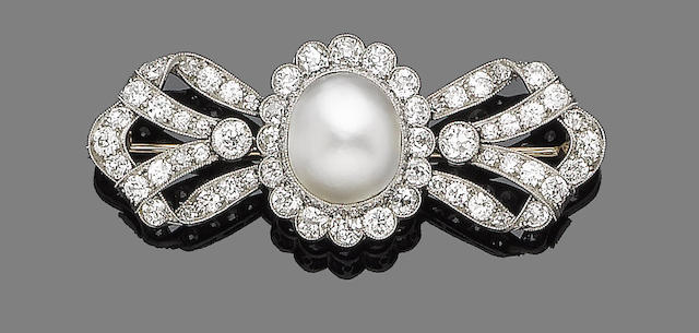 A late 19th century mabé pearl and diamond bow brooch
