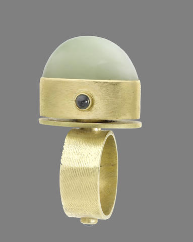 A jade and gem-set ring, by Wendy Ramshaw, (illustrated above)