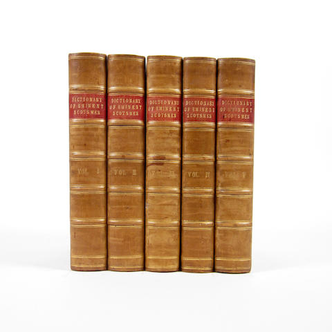 CHAMBERS (ROBERT) A Biographical Dictionary of Eminent Scotsmen... With a Supplemental Volume, 5 vol., half calf, 1864