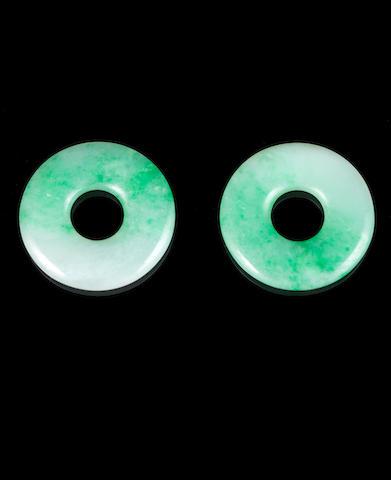 Two green stone bi discs
