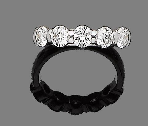 A diamond five-stone ring