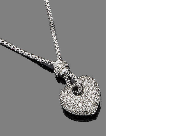 A diamond-set heart pendant necklace