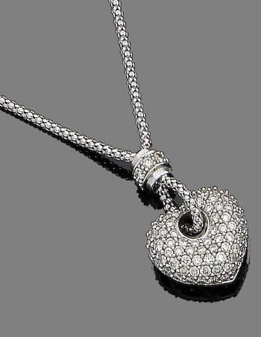 A diamond-set heart pendant necklace
